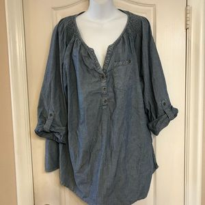 Lane Bryant 22/24W chambray pop over top